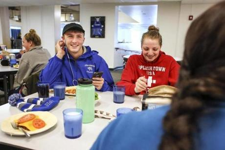 Students from left, Zach Allen and Meagan Thomsen, ate lunch at Colby-Sawyer College.